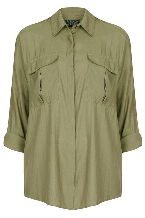Janika Blouse Simple Casual Bagus Murah khaki blouse topshop collar blouses