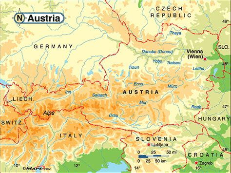 physical map of austria austria physical map by maps from maps world s
