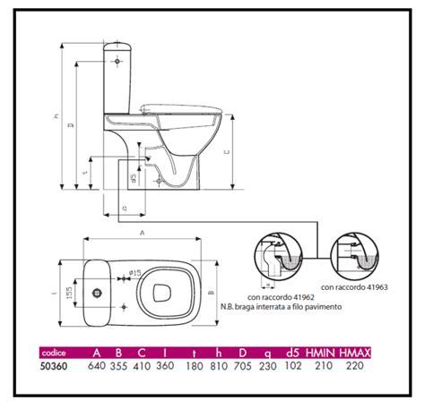 vasi wc predisposizione di scarico e attacchi idrici di vaso e bidet
