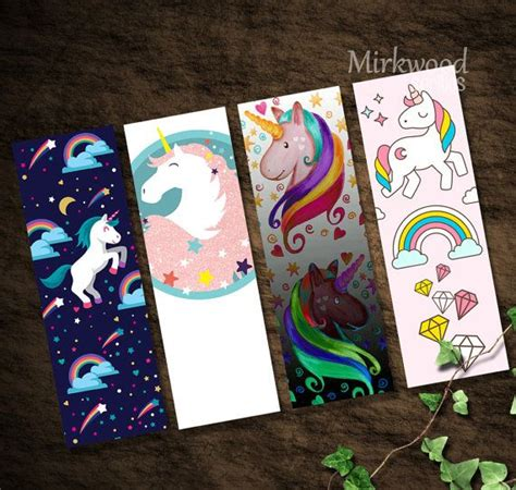 printable rainbow bookmarks unicorn bookmarks printable set of 4 rainbow von