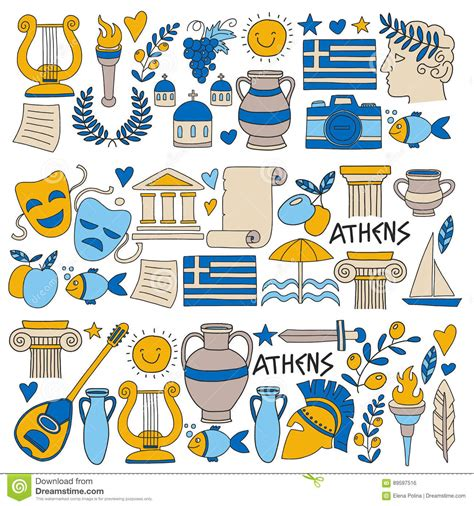 doodle history ancient greece vector elements in doodle style travel