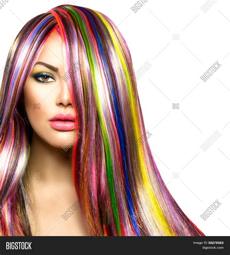 with colorful hair colorful hair makeup image photo bigstock
