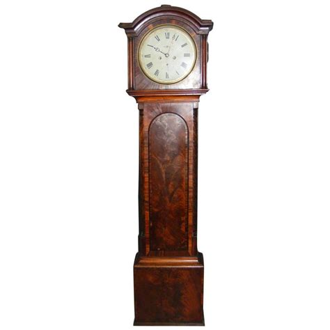 Tall Black Vases 19th Century Grandfather Clock In Mahogany By An
