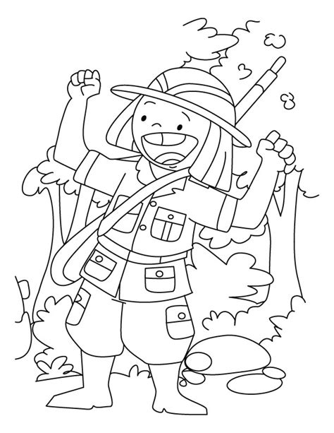 a happy hunter coloring page download free a happy