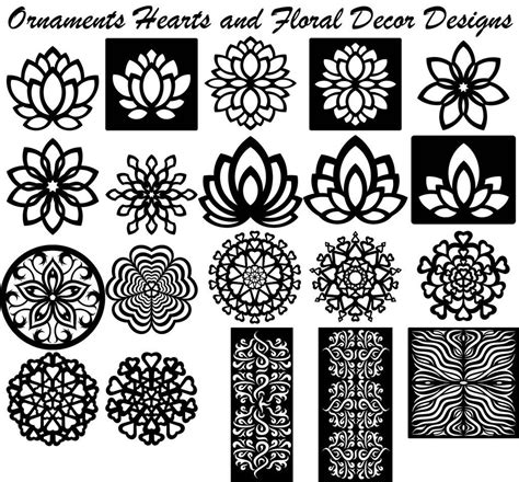 flower pattern dxf ornaments hearts and floral decor designs cnc cnc