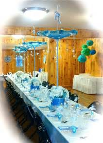 baby shower table with umbrella centerpieces