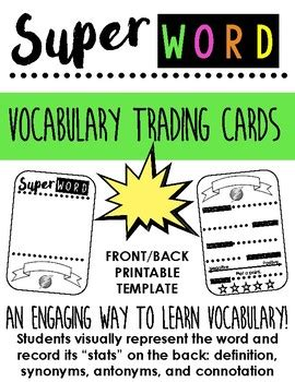 Vocabulary Trading Card Template by Quot Word Quot Vocabulary Trading Card Template A Way