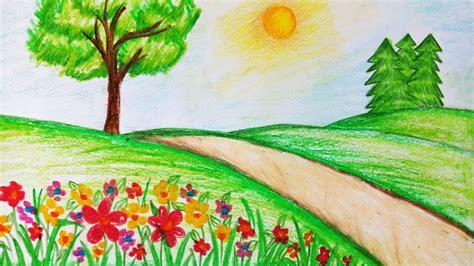 draw garden scenerystep  stepeasy draw youtube