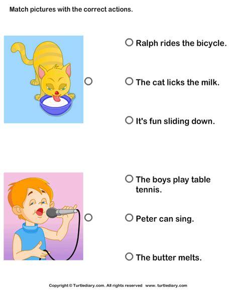 Verbs For Kindergarten Worksheets by Verbs Choose The Right Sentence Worksheet 7