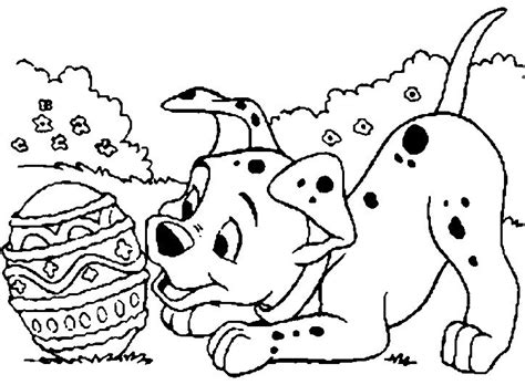 Easter Coloring Pages With Puppies | dog see egg easter coloring page dog pinterest