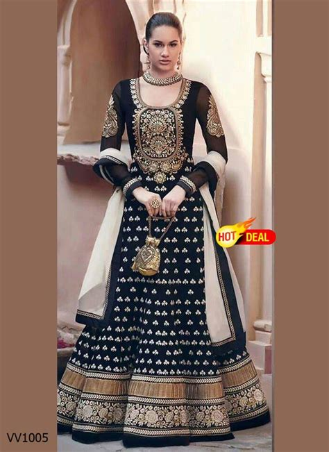 buy black embroidered georgette semi stitched salwar with dupatta
