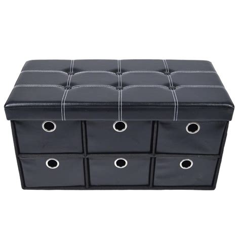 Achim Black Faux Leather Collapsible 6 Drawer Storage Black Faux Leather Storage Ottoman