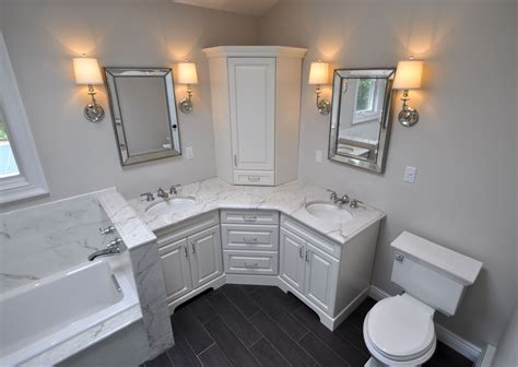 bathroom cabinetry ideas custom master bathroom with corner vanity tower