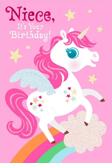 free printable birthday card unicorn unicorn birthday card for niece greeting cards hallmark