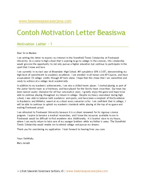 Motivation Letter Untuk Beasiswa Contoh Motivation Letter