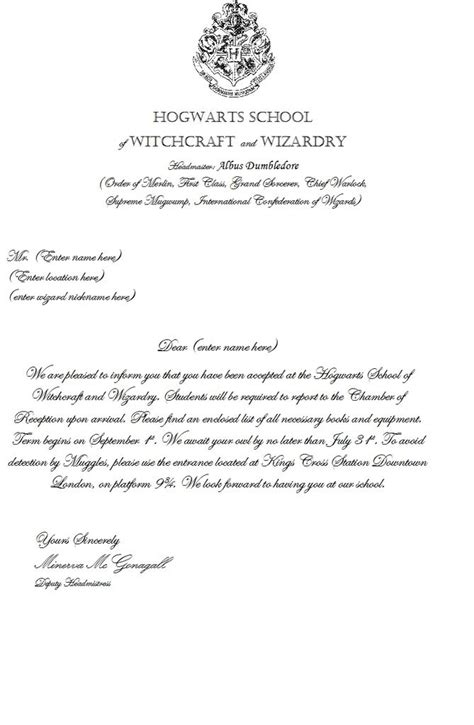 letter from hogwarts template harry potter acceptance letter template make your own