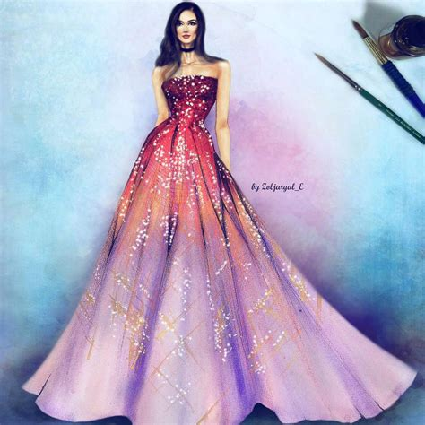 fashion illustration gown vedi la foto di instagram di zoljargal e piace a 1 527