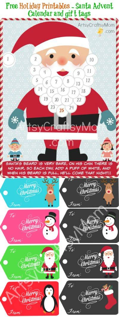 printable advent calendar santa free holiday printable santa advent calendar and gift