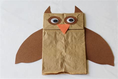 Owl Paper Bag Craft - paper bag owl puppet crafts for pbs parents
