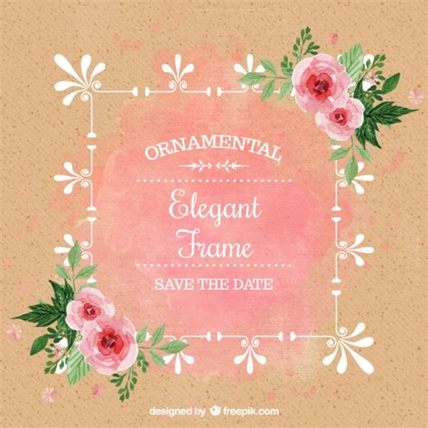 watercolor wedding invitation with roses vector free