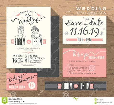 credit card wedding invitation template modern wedding invitation set design template stock vector