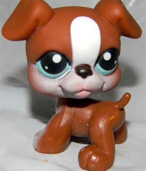 lps boxer puppy littlest pet shop boxer puppy 83 brown white aqua littlest pet shop
