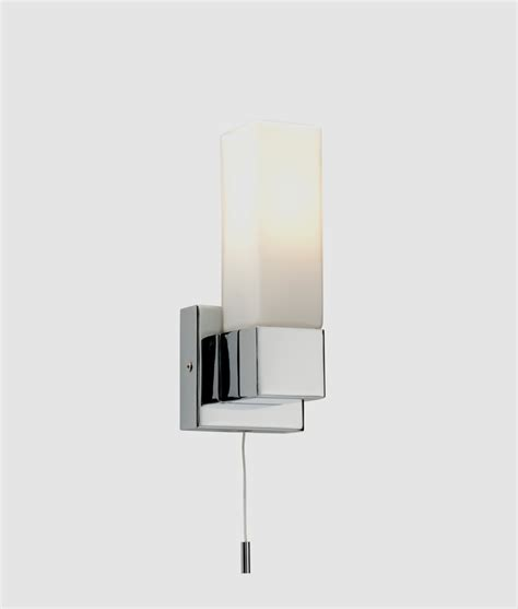 chrome and opal glass bathroom wall light