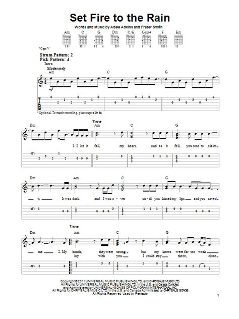 cara bermain kiss the rain guitar set fire to the rain sheet music direct