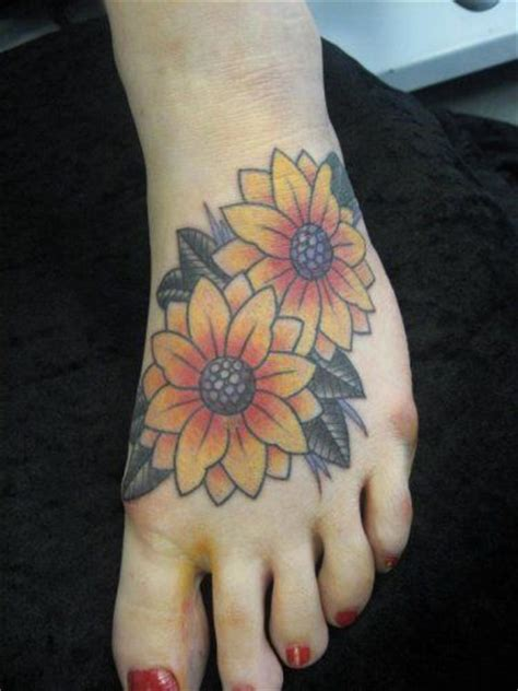 sun foot tattoo the 25 best sunflower foot tattoos ideas on