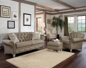 Living Room With Sofa Rustic Modern Living Room With Light Brown Tufted Sofa Chair And Ottoman Table With Wooden Legs