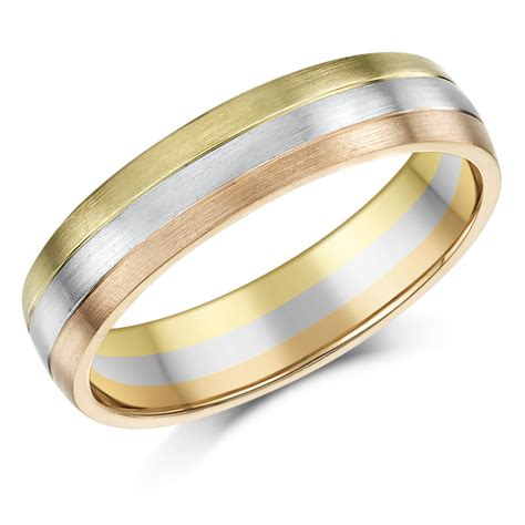 3 Wedding Ring by 5mm 9ct Gold 3 Colour Court Shape Wedding Ring Band 9ct