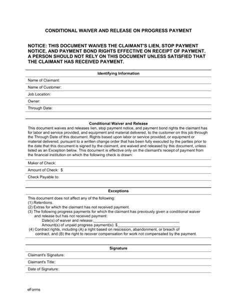 lien waiver template conditional waiver of lien template templates resume
