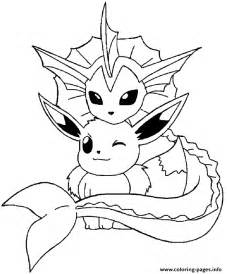 vaporeon and eevee pokemon coloring pages printable