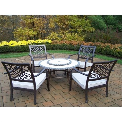 oakland living tacoma stone 6 piece metal patio dining set