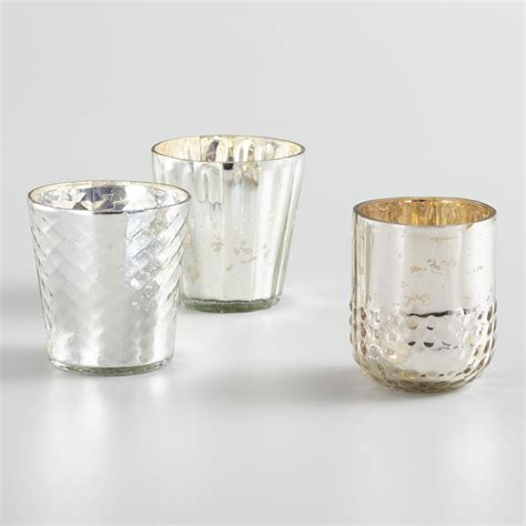 Mercury Glass Candle Holders by Silver Mercury Glass Votive Candleholders Set Of 3