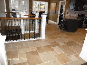 Travertine Kitchen Floor Walnut Brushed Chiseled Travertine Tile Flooring Tiles Traditional Kitchen Detroit