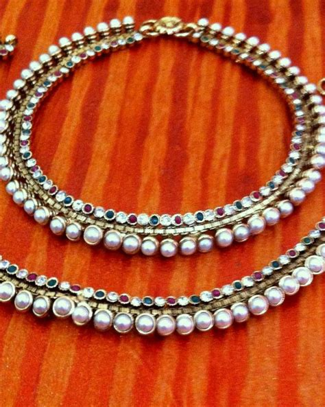 Handmade Payal - buy warm colourful pearl payal with a vibrant green