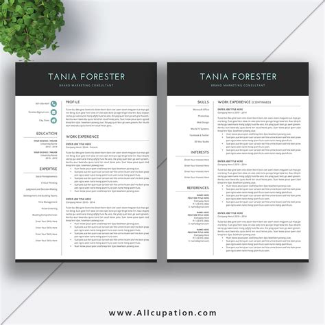 two page resume format for freshers creative resume template modern cv template word cover letter references instant