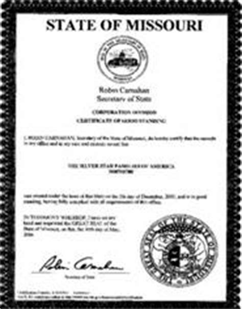 Sos Missouri Records Missouri Standing Certificate Mo Certificate Of Existence