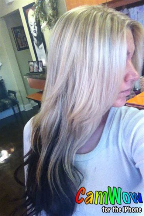 what is haircolor when bottom is darker than top dark brown on top instead of blond red auburn on bottom