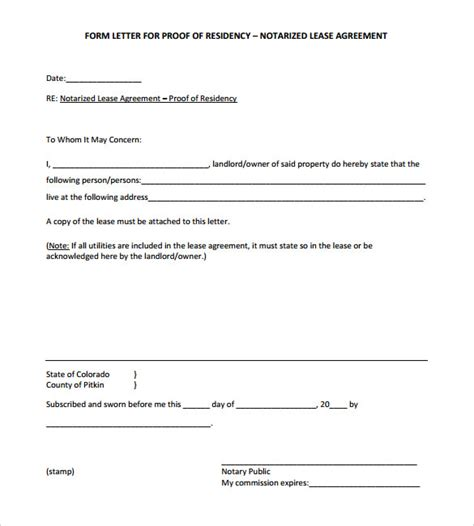 notary form template notarized letter template for residency docoments ojazlink