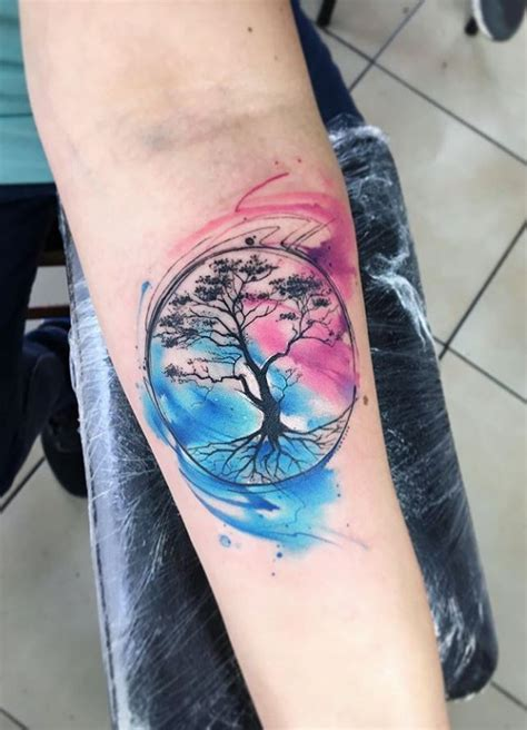 watercolor life tree tattoo inkstylemag