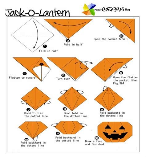 Printable Origami Pumpkin Instructions | halloween origami jack o lantern paper origami guide