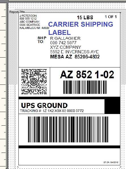package shipping label template printing setup