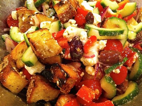 ina garten panzanella salad greek panzanella recipe pork potlucks and artichokes