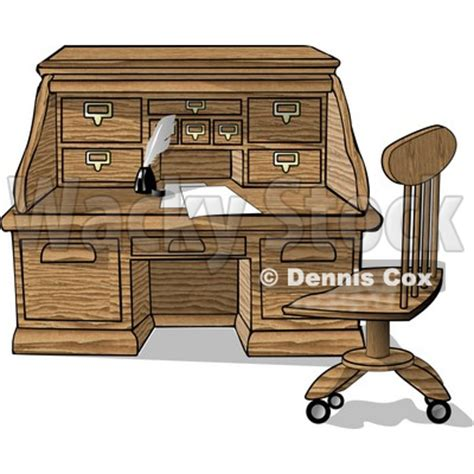 wooden roll top desk with papers and ink clipart picture