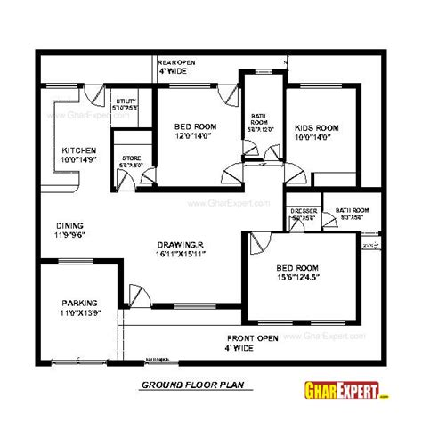 home design 50 50 house plan for 50 feet by 45 feet plot plot size 250 square yards gharexpert com