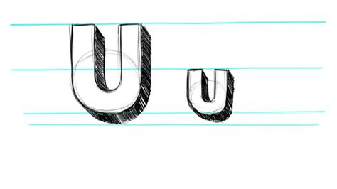 Drawing U N O by How To Draw 3d Letters U Uppercase U And Lowercase U In