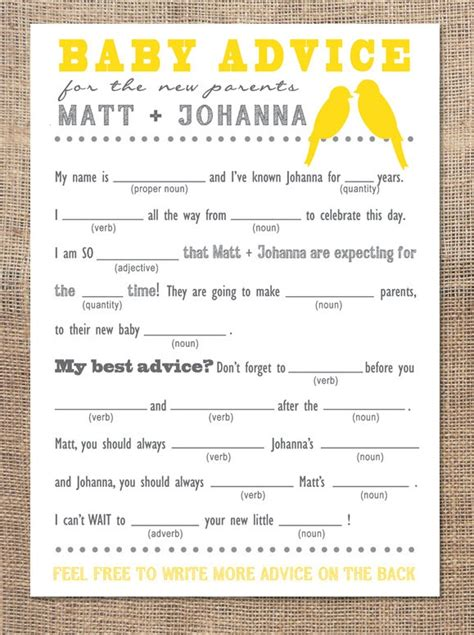 17 best ideas about baby shower advice on pinterest baby shower advice card mad libs yellow birds so