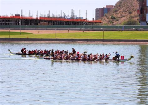 tow boat festival boats on tempe town lake during the dragon boat festival
